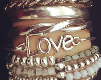 Bracelets, Love, Bangle Bracelet, Stacking Bracelets, Animal Rescue, Silver, Fun Gifts, Custom Jewelry, Nickel Free Jewelry, Accessories