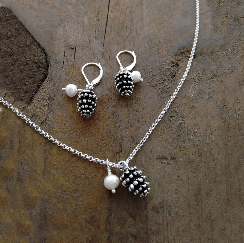 Pinecones Earrings and Necklace Set Matching Set Jewelry image 0
