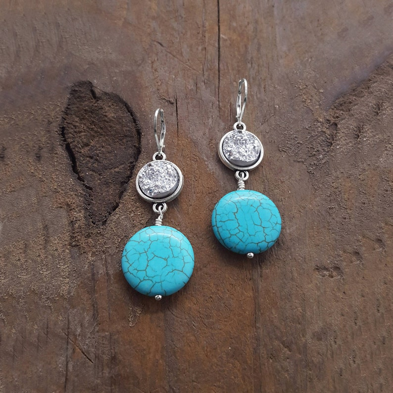 Druzy Earrings Turquoise Earrings Turquoise Jewelry image 0