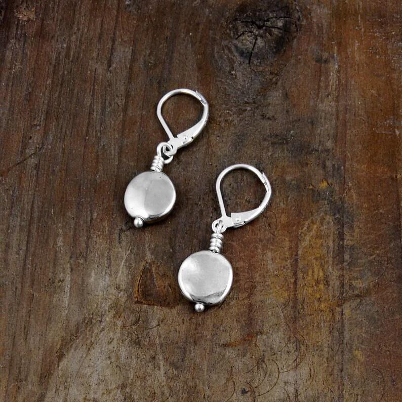 SILVER DOT EARRINGS best friend gift simple earrings image 0