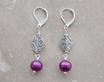 Violet, Lever back Earrings, Dangle Earrings, Everyday Earrings, Minimalist Jewelry, Lightweight Earrings, Pearl earrings, Dainty Earrings