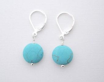 Turquoise Earrings, dainty earrings, leverback earrings, everyday earrings, minimalist jewelry, lightweight earrings, dyed Howlite