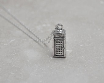 Tardis Necklace, Police Box Necklace, Fantasy Sci Fi, Geekery, Time Machine, Doctor Who, Geek Gift, Nerd Gift, Free Bead, Free Pearl