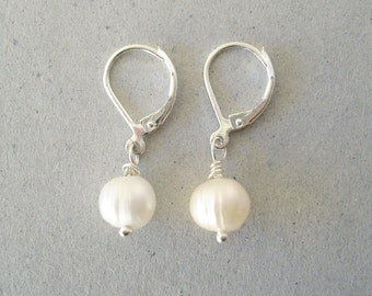 Genuine Pearl Earrings, Silver Leverback Earwires, Summer Wedding Jewelry, Kate Middleton Inspiration, Girls First Pearls, Gift Under 20
