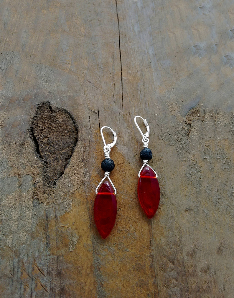 RED EARRINGS Red Jewelry Red Briolette Earrings Leverback image 0