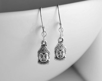 BUDDHA - Buddha Earrings, Zen Gifts, Wisdom and Peacefulness, Silver Leverback Earrings, Yoga Gift, Animal Rescue, I Love My Dog Jewelry