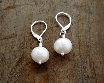 Large Pearl Earrings, Romantic Gifts, Genuine Freshwater Pearls, Wedding Jewelry, Bridal Earrings, Leverback, Kate Middleton Inspiration