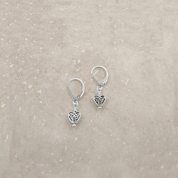 TINY CELTIC HEART Earrings, Celtic Knot Jewelry, Irish Gift, Tiny Heart  Earrings, Comfortable Earrings, Animal Rescue, Gift Wrapped