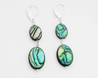 ABALONE EARRINGS, Under 25 Dollars, Abalone Jewelry, Leverback Earrings, Nickel Free Earrings, Charitable Gifts, Gift for Girlfriend, USA