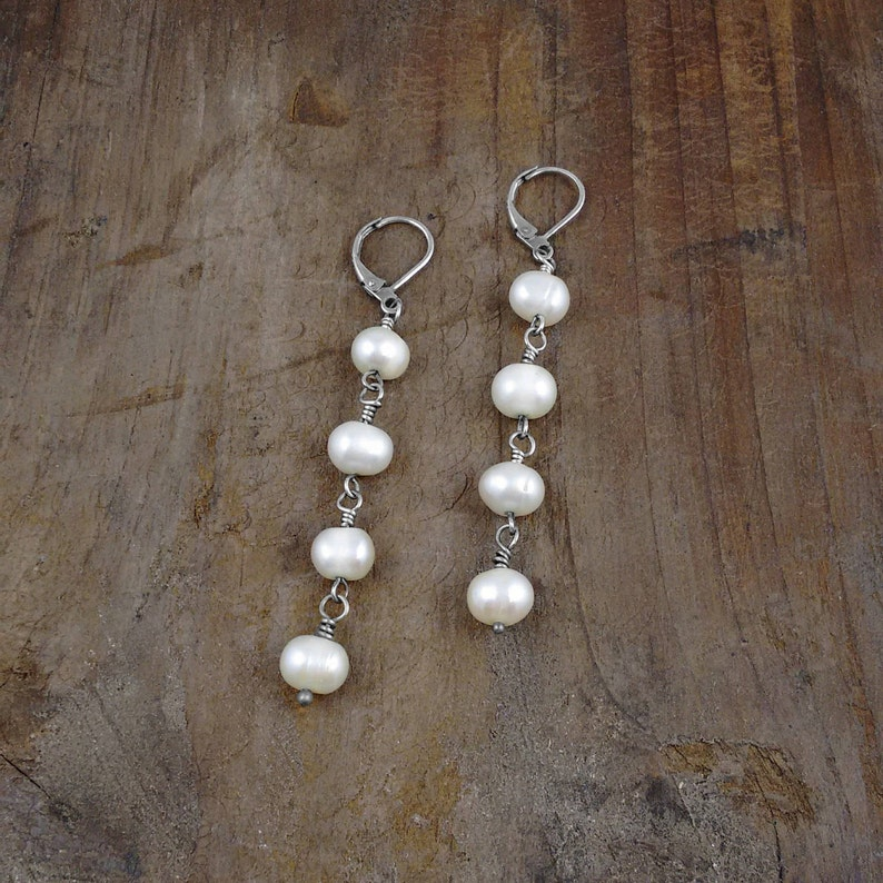 LONG PEARL EARRINGS nickel free special gift under 30 image 0