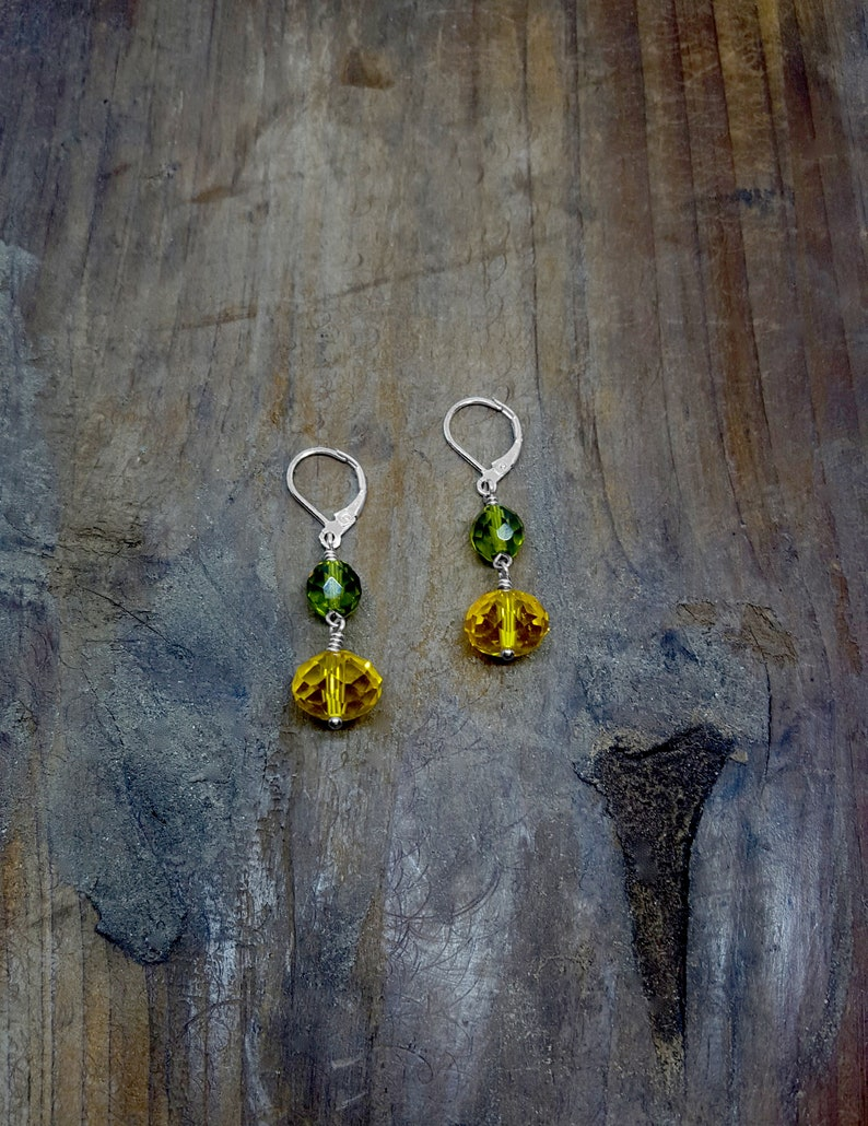 GREEN AND YELLOW Green and Yellow Earrings Crystals Lemon image 0