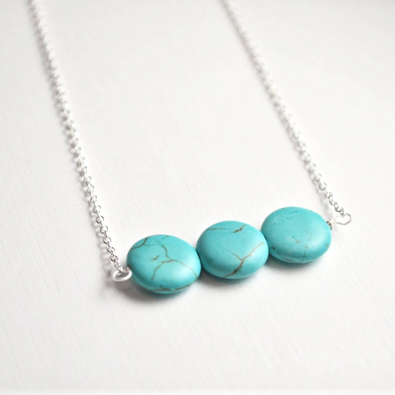 Turquoise necklace turquoise gift bar necklace silver image 0