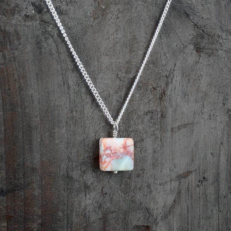 Natural Redline Marble Necklace Animal Lover Gift Gift for image 0