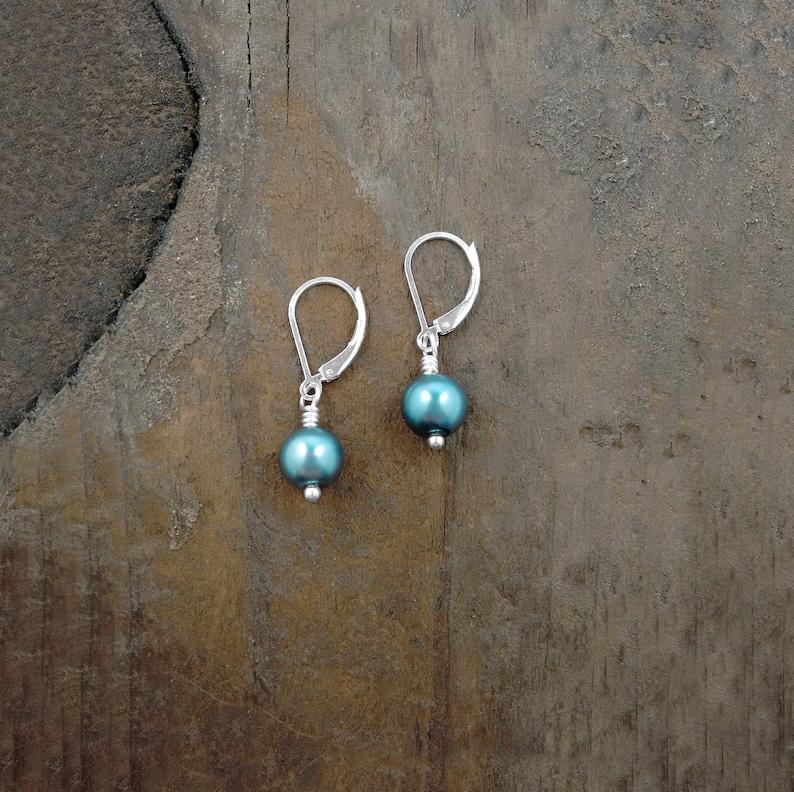 Teal Blue Pearl Earrings Leverback Earrings Teal Blue Beach image 0