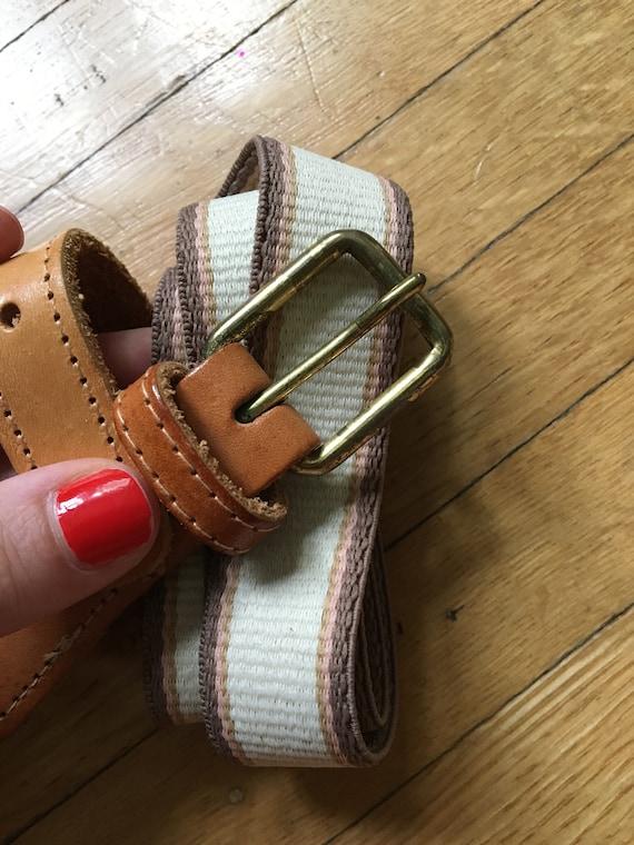Vintage PreppySporty Canvas Peach Brown and Tan Leather Belt Size SmallMedium