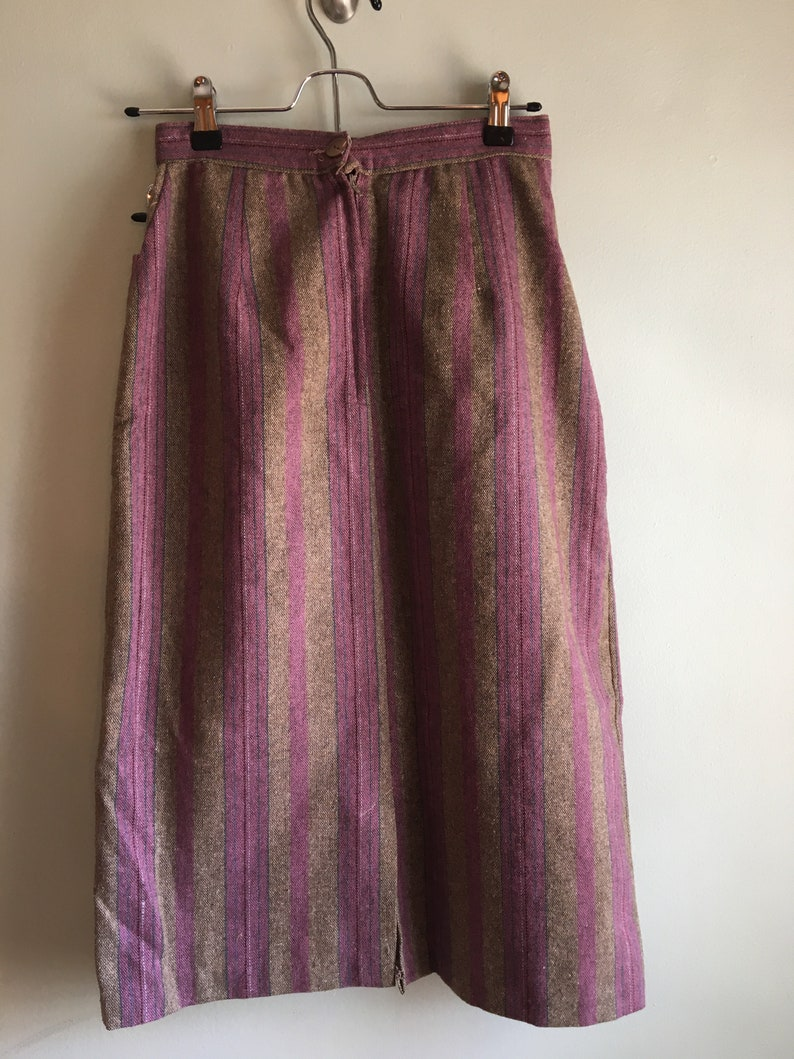 1970s Wool High Waist Pink and Brown Striped Knee Length Vintage Skirt