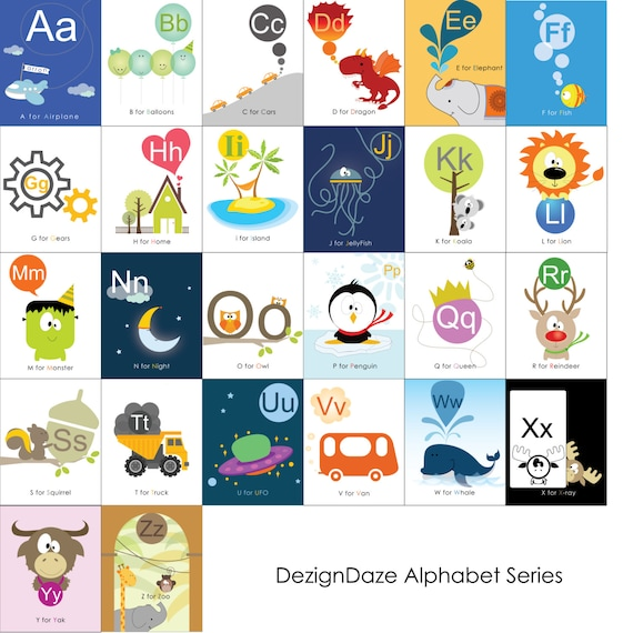 Items similar to Printable Alphabet Art, ABC, Letters ...