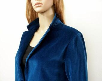 Bright Navy Jacket Vintage 1970s Velveteen Blazer / Small to Medium