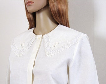 Wide Collar Blouse Etsy