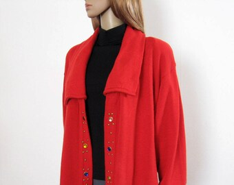 8b9fc29ef4 Red Knit Sweater Duster Coat 1980s Vintage Long Soft Studded Placket  Cardigan   Large