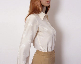 876bbef5d128f0 Ivory Cream Silk Blouse Vintage 1960s Jacquard Oriental Design Button Front  Shirt   Small