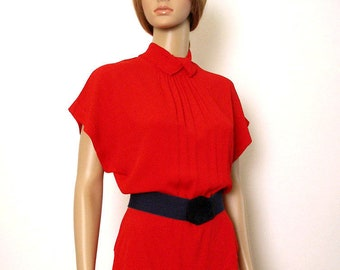 Vintage 1950s Dress Lipstick Red Curvy Hip Yoke Needs Work Dress / Small