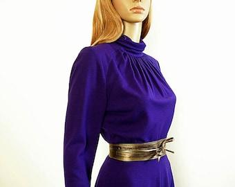 aa3c810439f4 Deep Purple Dress Vintage 1970s Mock Turtle Knit Midi Dress   Small