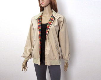 d4e4dd59fe Khaki Tan Bomber Jacket Izod Lacoste Vintage 1980s Lightweight Coat / Medium