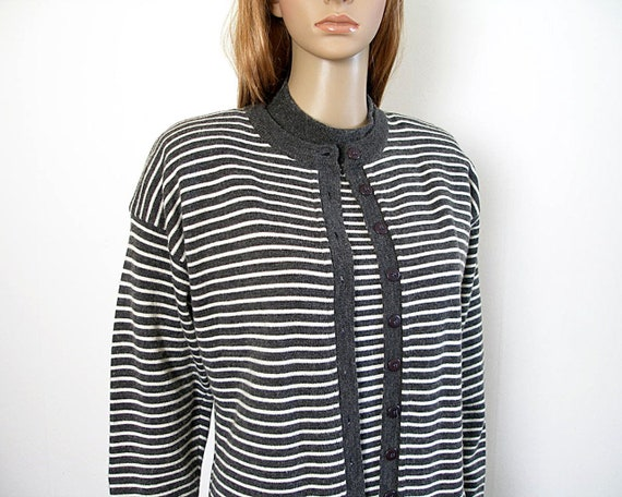 Charcoal Striped Three Piece Sweater Suit Adolfo C