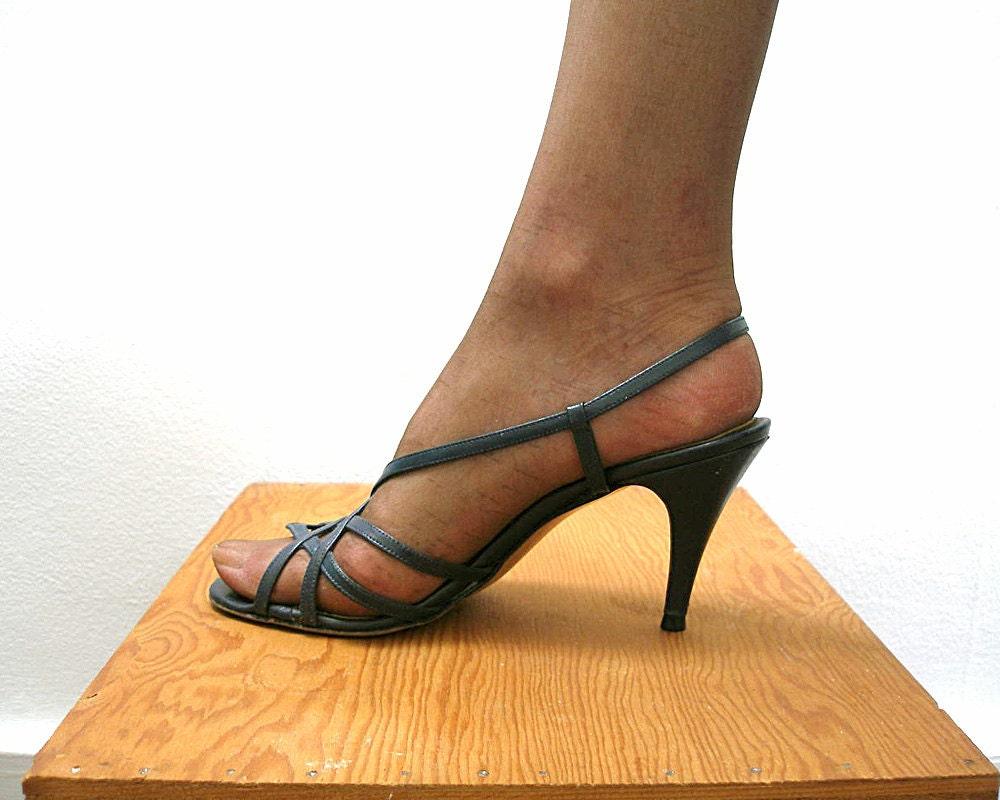 bce64bd7a3 Navy Blue High Heel Sandals Vintage 1980s Strappy Sandals   Etsy