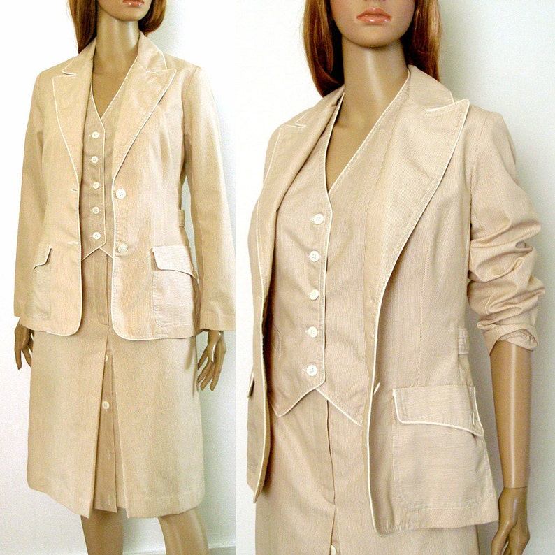 Cocoa Cream Skirt Suit Vintage 1970s Three Piece  Summer Suit  Small