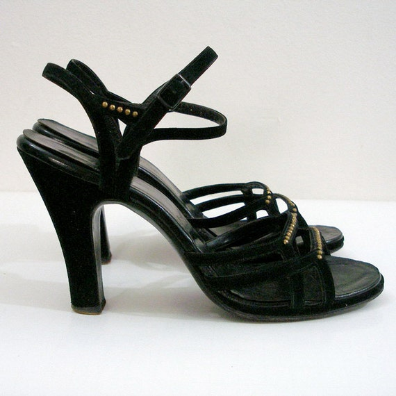 1940s 5 s6 Heels Vintage U To Sandals Black Platform 7m High Strappy 0wOPkXNn8