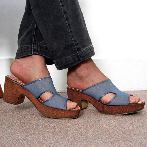 Platform Slide Sandals Vintage 1960s  Red White Bl