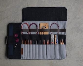 Knitting needle case, Circular needle case, Dark Blue denim Needle Organizer, Crochet case