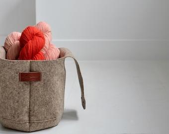Large Felt knitting bag, Wool project wristlet for knitting, Felt yarn basket