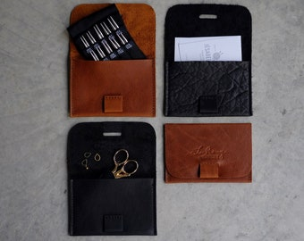 Leather mini case, Shorties leather case, Little Brother case in brown or black, Leather card holder,  minimalist leather case