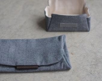 Big Brother notion Case in gray, Scissor case, DPN case, folded fabric case