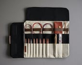 Case for interchangeable knitting needles, Best of case with gold polka dots, Black needle case