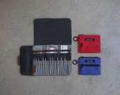 Shorties Case in Blue denim and stripes, Case for shorties knitting needle sets