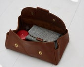 Leather notion case, Leather Big Brother case, Brown leather case for knitting accessories, leather pencil case