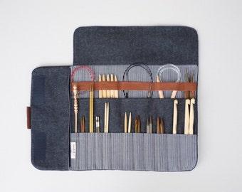 Knitting needle case, Circular needle case, Needle Organizer, Crochet case