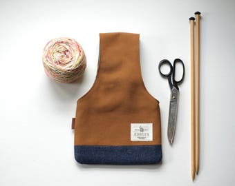Knitting bag in brown and denim small, Project bag for knitting on the go, Yarn bag