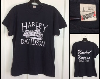 1980s Harley Davidson Motorcycle Rocket Rogers Cycle Parts Danville Virginia biker Screen Stars t-shirt size large 19x23.5 mechanic shop
