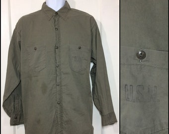1940s USN stamped US Navy olive green light weight cotton shirt looks size XL ww2 wwII military