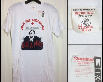 1970s deadstock American Red Cross Dracula vampire blood donor t-shirt size medium 17x29 thin white all cotton Huskee Mills NOS made in USA