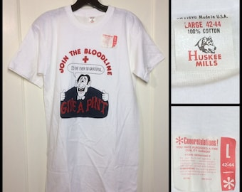 1960s 1970s deadstock American Red Cross Dracula vampire blood donor t-shirt looks small 17x30 thin white cotton Huskee Mills NOS made USA
