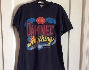 1980s Vintage 1986 the Damned Anything Punk Rock Band T-shirt Large 20x27 single stitch