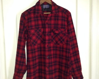 Vintage 1950s Pendleton shadow plaid wool flannel loop shirt size small red orange black rockabilly