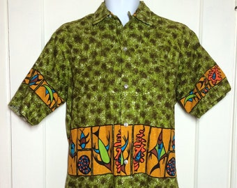 1960s Hawaiian tiki patterned bark cloth loop shirt looks size large Tropicana made in Honolulu Hawaii abstract dolphin fish tribal surfer