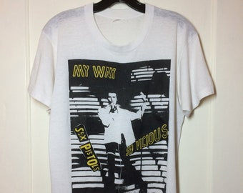 early 1980's Sid Vicious Sex Pistols My Way the Great Rock-n-Roll Swindle worn thin white T-shirt looks size Medium 19.5x25 Punk Anarchy tee